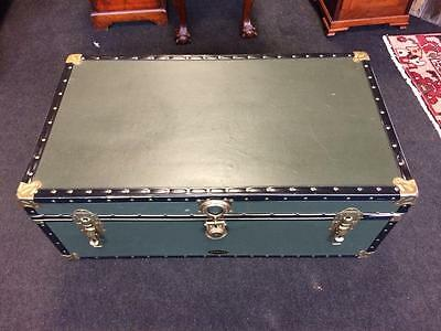 Large Vintage Steamer Storage Trunk Green Coffee Table Clasps & Side Handles