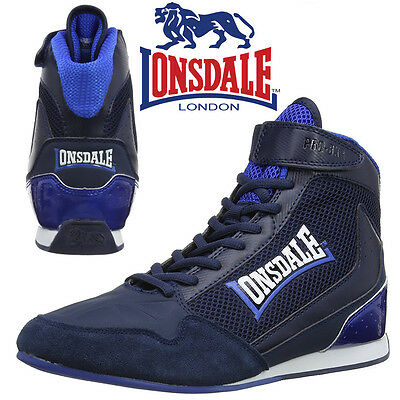 Lonsdale Cagney Boxing Boots Mens Navy/Blue Trainers Retro Sneakers CLEARANCE