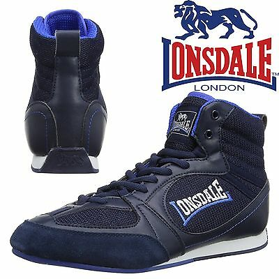 Lonsdale Widmark Boxing Boots Mens Navy/Blue Trainers Retro Sneakers CLEARANCE