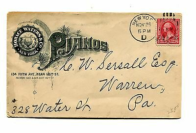 Vintage Illustrated Envelope HORACE WATERS & CO PIANO ny