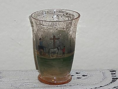 Antique Tiny Glass wth Funeral Scene 2""
