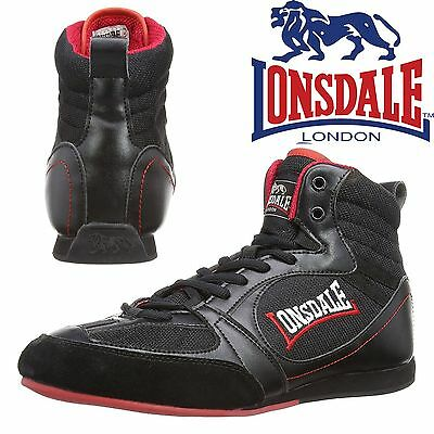 Lonsdale Widmark Boxing Boots Black/Red Trainers Shoes Classic Sportswear