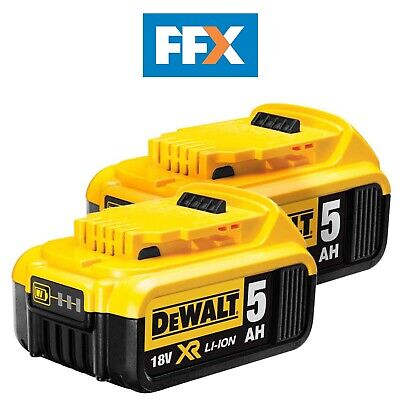 Genuine DeWalt DCB184 18v XR Li-Ion 5.0ah Battery *Twin Pack*