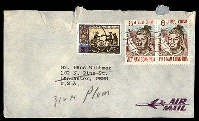 Vietnam airmail cover with bicycle issue to Lancaster Pennsylvania USA