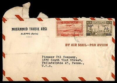 Syria Aleppo to US Pioneer Oil Com 1950 Multifranked Airmail Cover
