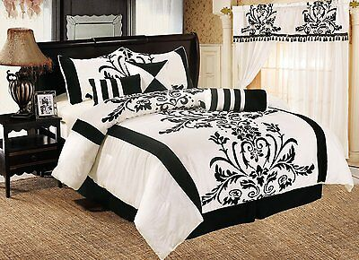 7-Piece Black with White Flocking Floral Comforter Set Bed-in-a-Bag Cal King