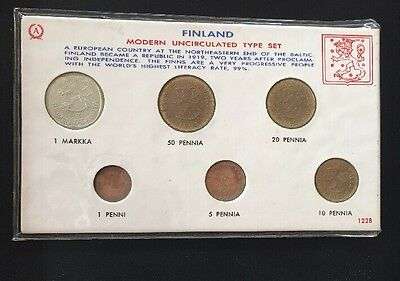 Uncirculated 1964/65 Six Coin Set Finland Coins