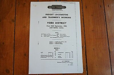 1949 Fascimilie York District Sect 3 Railway Freight Engine Enginemens Workings