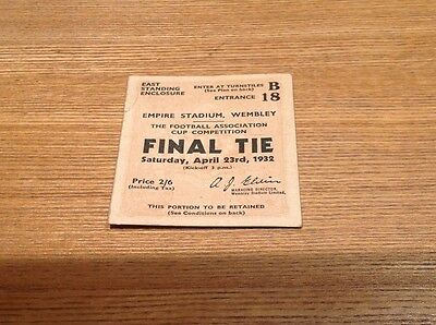 Original 1932 Fa Cup Final Ticket Newcastle United V Arsenal Good Condition