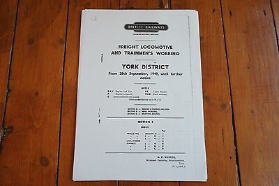 1949 Fascimilie York District Sect 2 Railway Freight Engine Enginemens Workings