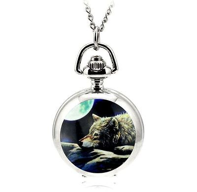 silver necklace pendant pocket pocket mini watch  wolf moon Wicca Pegan