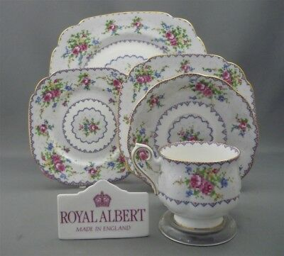PETIT POINT Pattern Royal Albert England Bone China 5 Piece Dinner Place Setting