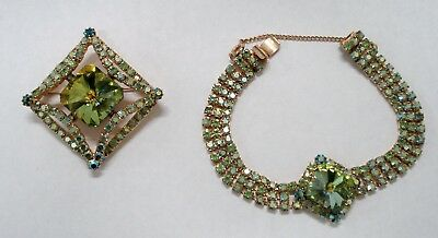 Vintage Iridescent Green Rhinestone Bracelet & Brooch/pin W/ Safety Chain 7 1/4""