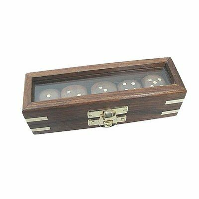 G4682: Dice Game, Dice in Glass cover box made from wood with Brass inlay