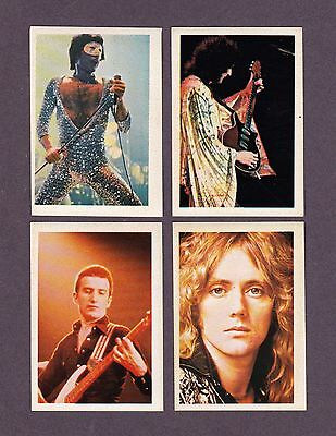 1980 Queen Freddie Mercury Brian May Pop Festival Sticker Card Lot Of All 4 Rare