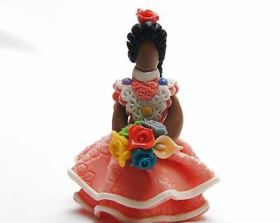 New Dominican Handmade Handcrafted Cold Porcelain Orange Dressed Collection Doll