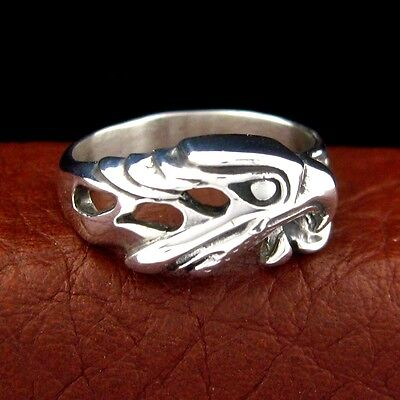 Native American Made Sterling Silver Eagle Head Ring - Select Size --- R34