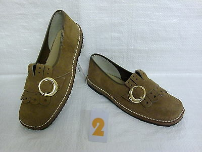 retro original 1970s vintage shoes girls light brown suede / leather size 1