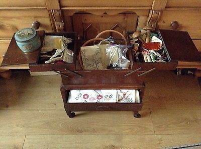 Vintage Cantilever Wooden Sewing Box On Wheels Draw Buttons Ribbon Dmc Lace Lot