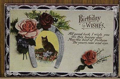 ANTIQUE 1910's POSTCARD Cats Kitten Birthday Wishes Horseshoe Good Luck Unposted