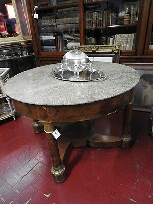 Important Ancient Grande Table Empire In Nut Columns Bronze Level Marble Period