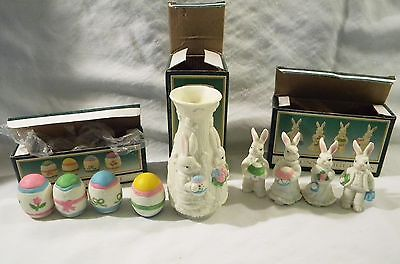 LOT Small Bisque Porcelain Easter Figurines Vase Eggs Bunny Rabbits Jade Collect