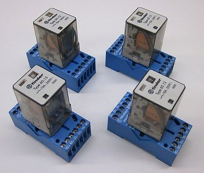 Finder Type 60.13 Relay, 10A 250VAC, 24VAC Coil w/ Socket 90.73 Lot of 4