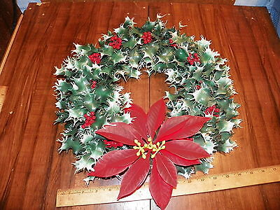 "Vintage 14"" Plastic Christmas Wreath Holly w Poinsettia Flower"