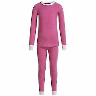 NWT Cuddl Duds Thermal 2 pc Toddler Girls PINK WITH WHITE TRIM SIZE 5T