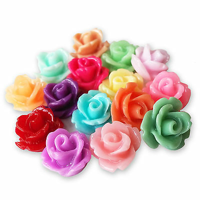 10mm Lucite Flower SMALL RESIN ROSE BUD Cabochons Flatback Embellishments Craft