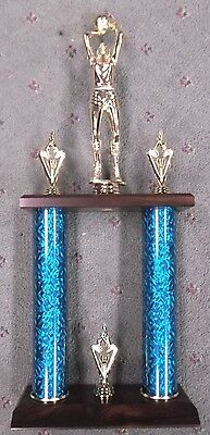 female  BASKETBALL 2 post trophy teal column cherry finish wood base