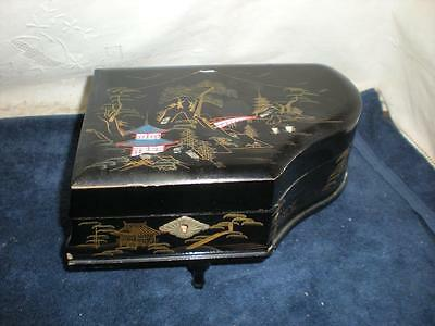 Vintage Japanese Lacquer Black Music Jewelry Box with Ballerina : Piano Shape