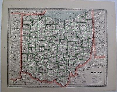 County Map Ohio Lake Erie George Cram Columbus Cincinnati Cleveland Ca. 1900