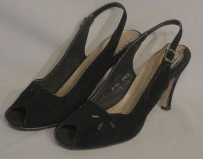 Black Suede Vintage Peep Toe Ankle Strap Kitten Shoes 7