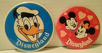 DISNEYLAND PIN BACK BUTTONS LOT vintage DONALD DUCK + MICKEY & MINNIE MOUSE