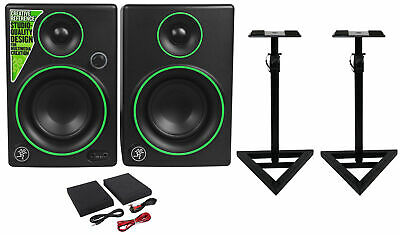 "(2) Mackie CR3 3"" Creative Reference Multimedia Monitors Speakers+Monitor Stands"