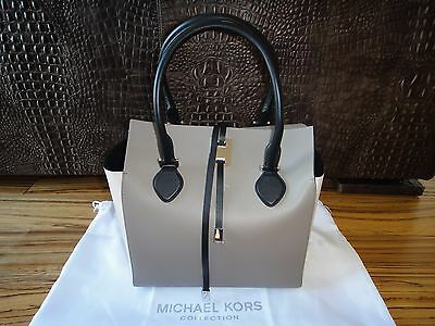 MICHAEL KORS Collection Miranda Large Nappaleder Tasche/Tote Limitiert TAUPE NEU