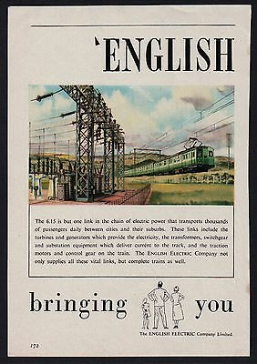1950s advert for ENGLISH ELECTRIC train transport 2-page advertisement 1954
