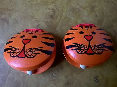 Childrens Castanets (Two) - Orange With Tiger Design Brand New