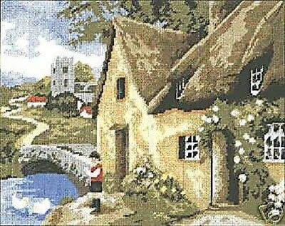 Village Scene Tapestry Needlepoint Canvas DMC