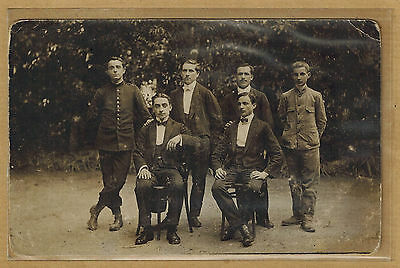 Carte Photo card RPPC Photo Hall Bedarieu Lamalou hommes costume militaire bt099