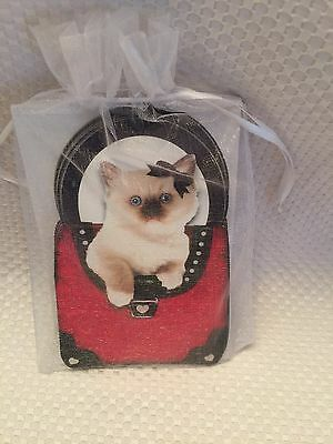 CAT IN PURSE NOTE CARDS  Red & Black Purse Design, Voila Greenbrier Precious A