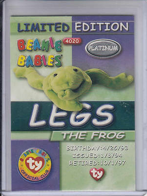 1999 Ty Legs the Frog Platinum Limited Edition Beanie Babies card