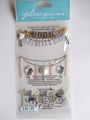 JOLEE'S BOUTIQUE STICKERS - WEDDING WORDS GARLANDS just married phrases