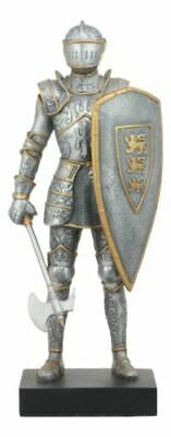 "Elite Medieval Axeman Knight Statue 13""Tall Royal Suit of Armor Heraldry Shield"