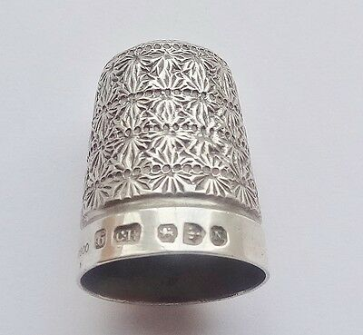 ANTIQUE Victorian SOLID SILVER THIMBLE - Chester 1896 - Charles Horner