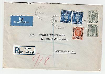 1939 Morocco Agencies Tetuan To Manchester Registered Airmail Cover