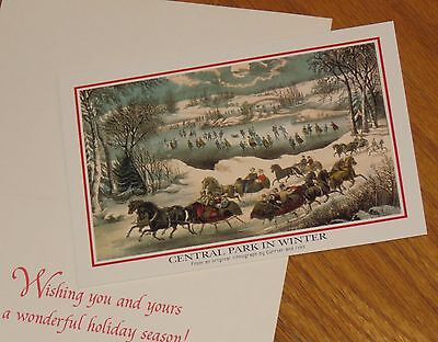 Central Park In Winter Currier & Ives vtg American Greetings Christmas Cards 8ct