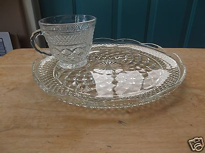 Anchor Hocking Wexford Clear Glass 9 1/2-Inch Snack Plate and Matching Cup