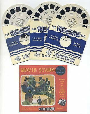 Famous Movie Stars of Hollywood 1950's ViewMaster Reels 740 741 742 + Color Copy